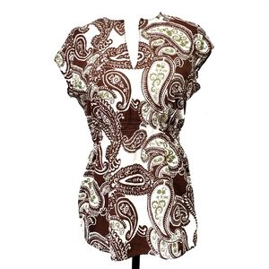 Lucky Brand  Paisley Peasant Top Cap Sleeves